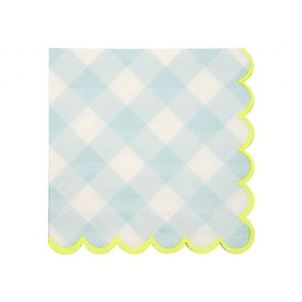 Blue Gingham Paper Napkins - Small
